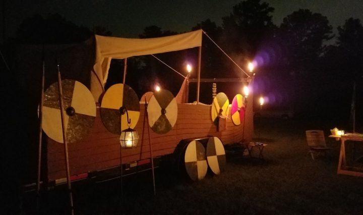 Trailer made up as Viking boat with pavilion