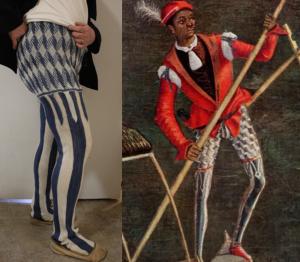 Sprang reproduction of Venetian gondolier's leggings in Renaissance painting