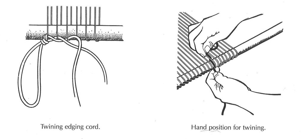 """Excerpt from """"Navajo Weaving Way"""" by Noel Bennett, showing how warp is spaced by twining a 2-ply cord."""