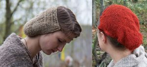 Two reconstructions of the Borum Eshoj hairnet, with differing density of threads.